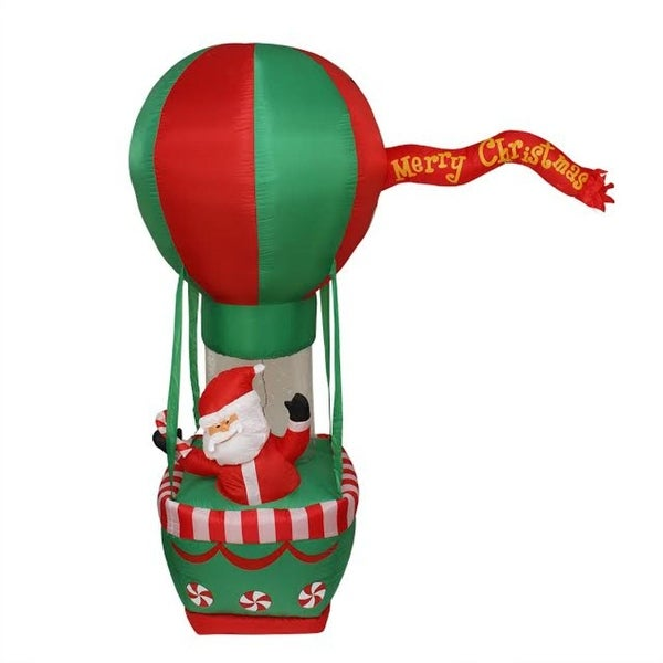 7' Inflatable Santa Claus on Hot Air Balloon Christmas Outdoor Decoration - green