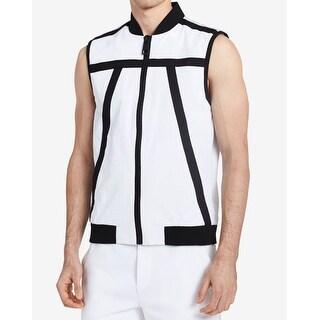 Calvin Klein NEW White Mens Size Small S Tape Trim Lab Vest Jacket