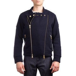 Pierre Balmain Men's Virgin Wool Nylon Double Zipper Jacket Navy Blue