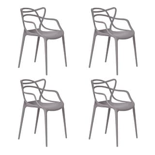 Costway Set of 4 Masters Dining Chairs Modern Design Armchair Indoor Outdoor Stackable