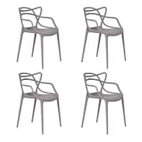 Costway Set of 4 Masters Dining Chairs Modern Design Armchair Indoor Outdoor Stackable