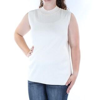 ALFANI $60 Womens New 1370 Ivory Jewel Neck Sleeveless Casual Sweater XL B+B
