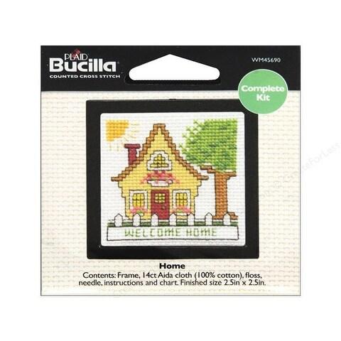 Bucilla Cross Stitch Kit Counted Beginning Kit 2.5 Inch Home