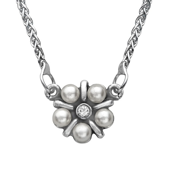 Van Kempen Art Nouveau Simulated Pearl Necklace with Swarovski Crystals in Sterling Silver