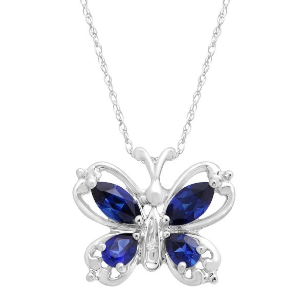 1 ct Created Sapphire Butterfly Pendant with Diamond in 10K White Gold - Blue