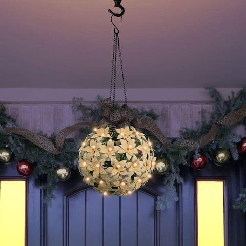 Alpine Corporation White Christmas Poinsettia Ornament with LED Light