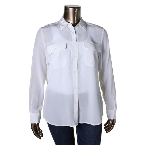 Lauren Ralph Lauren Womens Button-Down Top Silk Long Sleeves