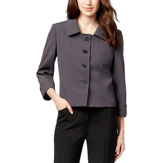 Tahari ASL Womens Petites Fiona Four-Button Blazer Heathered Shoulder Pads