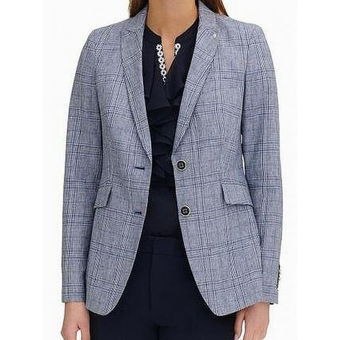 Tommy Hilfiger Women's Blazer Denim Blue Size 0 Plaid Two Button Notch