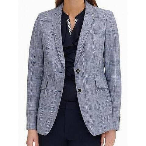 Tommy Hilfiger Women's Jacket Blue 12 Elbow Patch Houndstooth Blazer