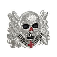 Chrome & Enamel Flaming Soldier Skull Belt Buckle