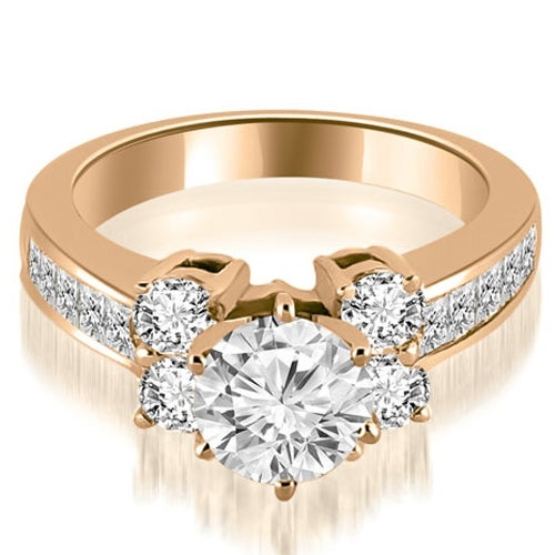 1.75 cttw. 14K Rose Gold Channel Round Cut Diamond Engagement Ring