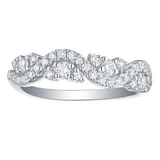 Smiling Rocks 0 56Ct G H VS1 Lab Grown Diamond Half Eternity Twisted Ring