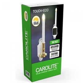CAROLITE (2 Pack) Solar Holiday Window Candles Flickering Light