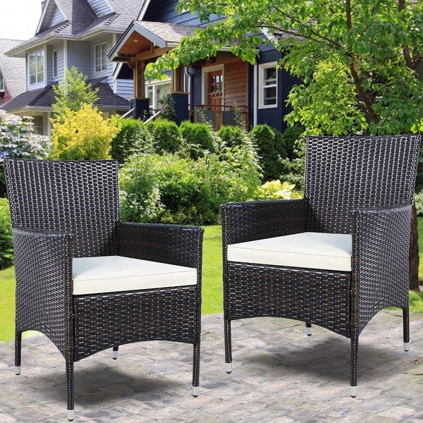2PC Chairs Outdoor Patio Rattan Wicker Dining Arm Seat With Cushions - Brown