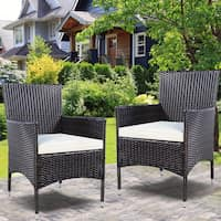 Deals on Costway 2PC Chairs Outdoor Patio Rattan Wicker Dining Arm Seat