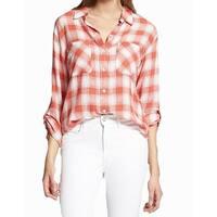 Sanctuary Pink White Womens Size Medium M Plaid Button Down Shirt