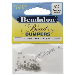 Beadalon Bead Bumpers, Cube Silicone Spacers 1.7mm, 50 Pieces, Silver