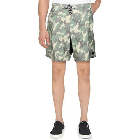 "Hurley Mens Beachside Islander Board, Surf Shorts Camo Print 7"" Inseam - Green Camo - 40"