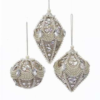 """Club Pack of 12 Champagne and Silver Colored Decorative Ornaments 6"""""""