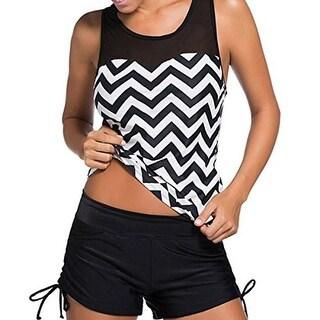 Tempt Me Womens Chevron Mesh Inset Tankini Swimsuit - XL