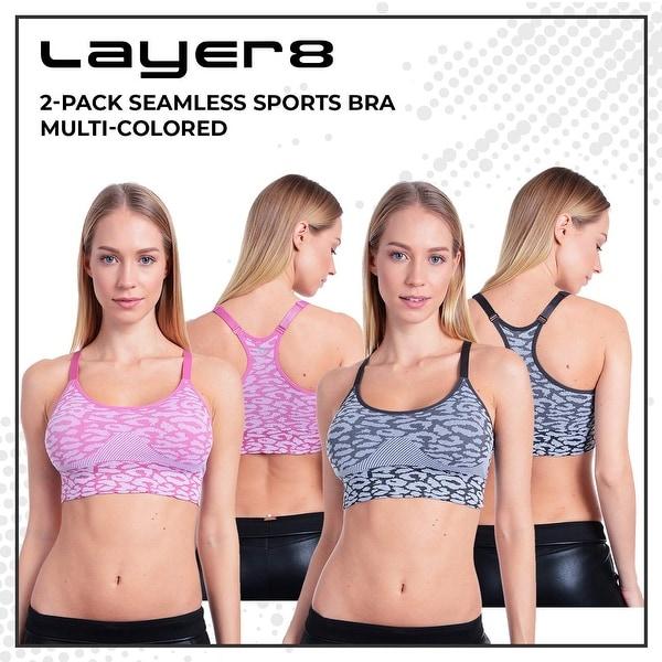 Layer 8 Womens 2 Piece Pack Molded Seamless Sports Bra Sports Bra