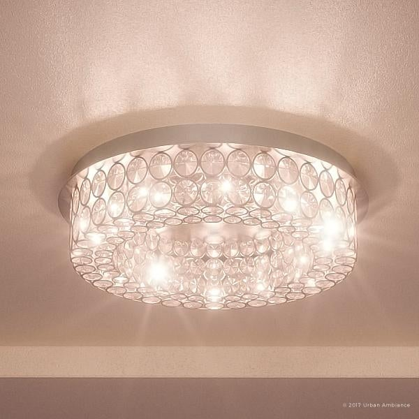 Luxury Crystal Flush Mount Led Ceiling Light 4 H X 15 5 W With Modern Style Polished Chrome Finish