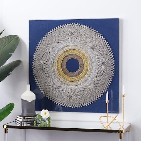 Blue Canvas Contemporary Framed Wall Art 36 x 36 x 2 - 36 x 2 x 36