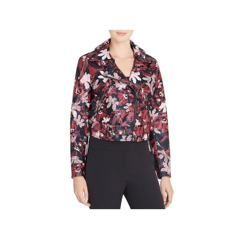 CATHERINE CATHERINE MALANDRINO Womens Veruca Motorcycle Jacket Floral Print
