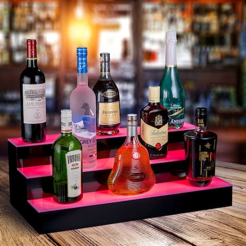 """OnDisplay Luxe Acrylic LED Lighted Bar Stage Display - Expandable Glowing Liquor Bottle Shelf - For Bar or Man Cave (Black, 24"""")"""