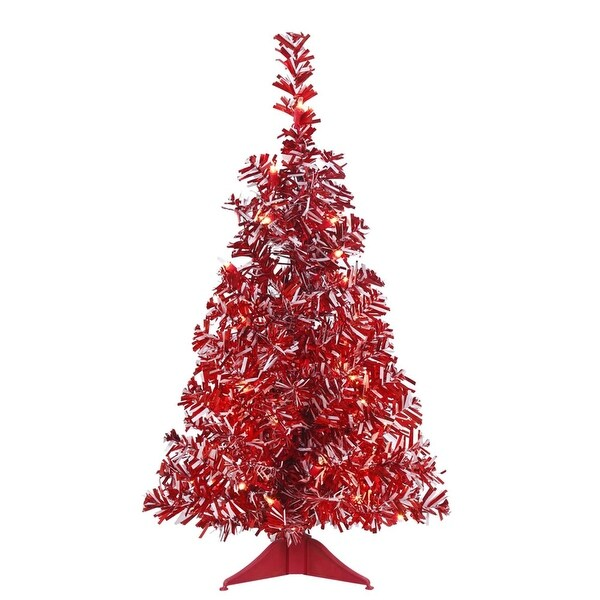 """Shop 2' x 14"""" Pre-Lit Red & White Candy Cane Artificial Wide Cut Tinsel Christmas Tree - Red ..."""
