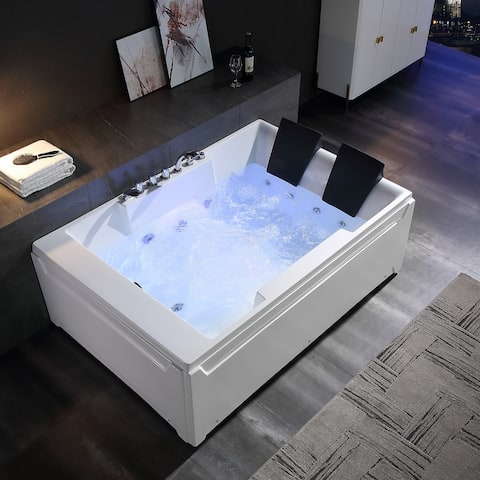 """72"""" X 48"""" Acrylic Rectangle Whirlpool Bathtub - 10 Water Jets - Led Lights - Left Side Drain - 3-Side Alcove Install - 72"""" x 48"""""""