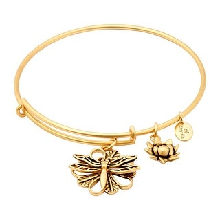 "Chrysalis 14K Gold-Flashed Brass Expandable Dragonfly Bangle, 7-8.5"" - YELLOW"