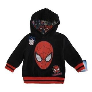 Marvel Little Boys Black Red Spiderman Face Print Hooded Sweater