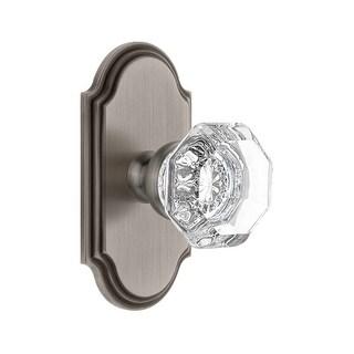 "Grandeur ARCCHM_PSG_234  Arc Solid Brass Rose Passage Door Knob Set with Chambord Crystal Knob and 2-3/4"" Backset"