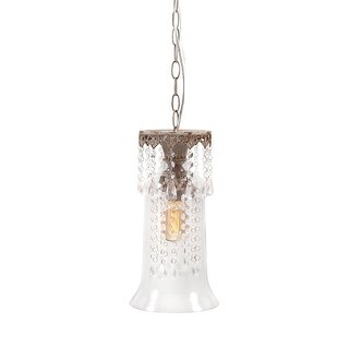 """13.5"""" Antique Bronze and Clear Glass Hanging Pendant Ceiling Light Fixture"""