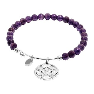 Chrysalis 'Third Eye' Natural Amethyst Charm Bangle Bracelet in Rhodium-Plated Brass - Purple
