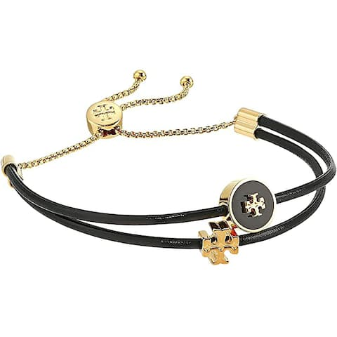 Tory Burch Womens Kira Black Enamel Slider Bracelet