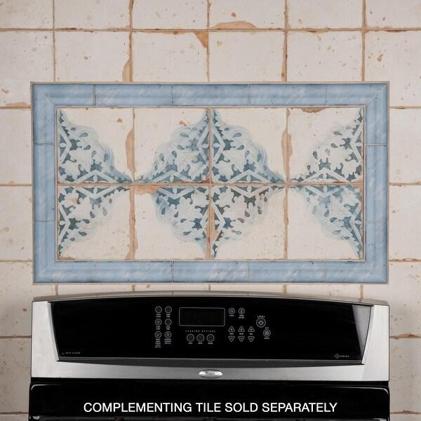 "SomerTile Artisan Azul 2"" x 6.5"" Ceramic Moldura Wall Trim Tile. Opens flyout."