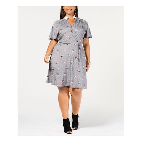 MONTEAU Womens Gray Printed Short Sleeve Collared Above The Knee Faux Wrap Dress Plus Size: 2X