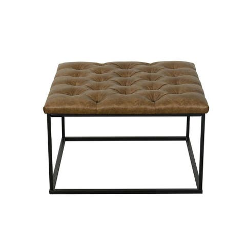 HomePop Draper Button-tufted Brown Ottoman