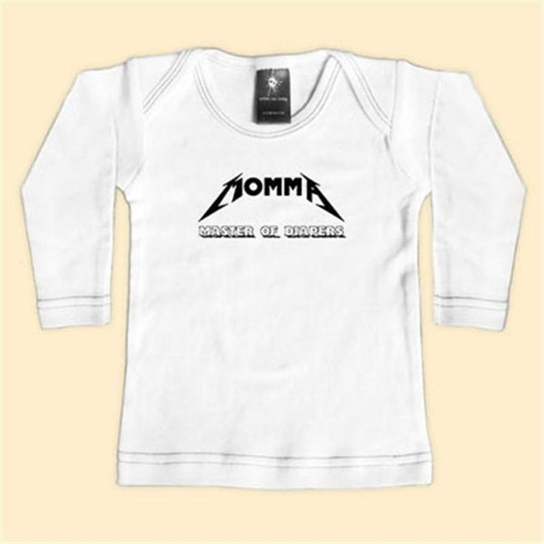 - Momma-Master Of Diapers - White Long Sleeve T-Shirt - 12-18 Months