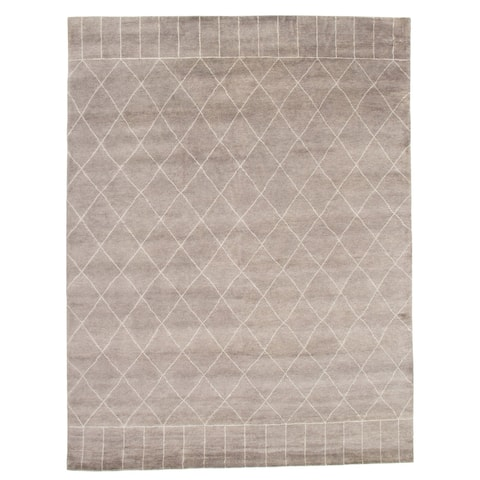 ECARPETGALLERY Hand-knotted Arlequin Grey Wool Rug - 9'2 x 12'1
