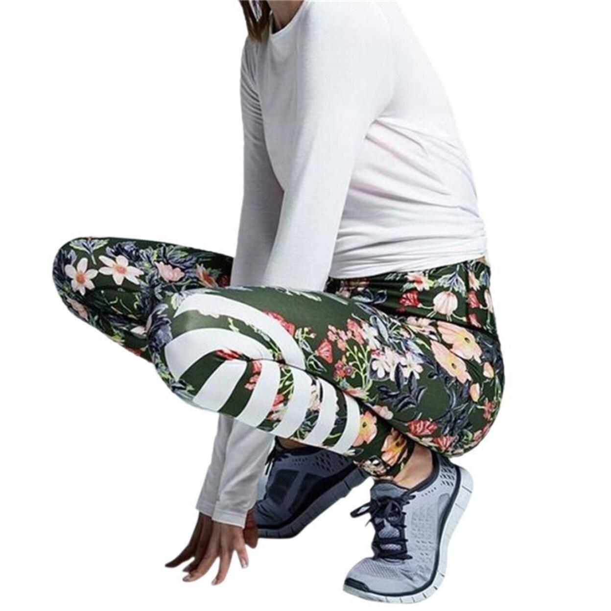 Womens FloralPrinted YogaPants Workout Gym Leggings Fitness Sports Striped Pants