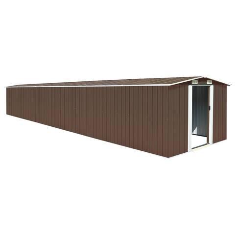"""vidaXL Garden Shed Brown 101.2""""x306.7""""x71.3"""" Galvanized steel"""