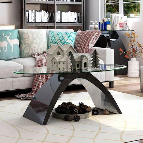 Furniture of America Crescendo Modern Glass Top Coffee Table
