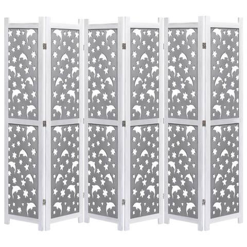 "vidaXL 6-Panel Room Divider Gray 82.7""x64.7"" Solid Wood"