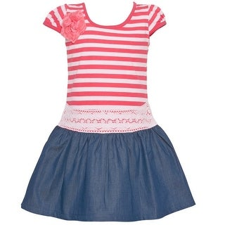 Littoe Potatoes Little Girls Coral Stripe Pattern Flower Lace Trim Dress