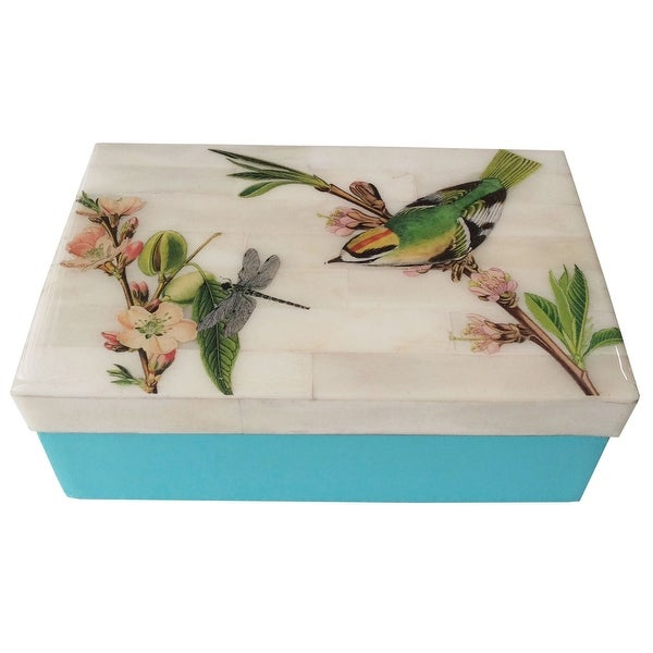 "5.75"" Blue and Ivory White Flora and Fauna Keepsake Box - N/A"