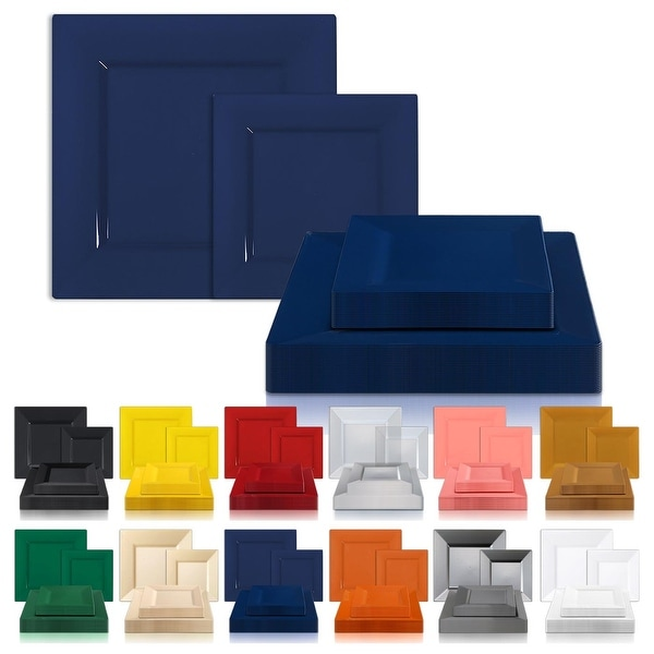 Modern Solid Square Disposable Plastic Plate Packs - Party Supplies. Opens flyout.